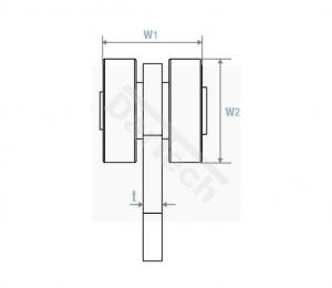 2 görgős függő kocsi C sínhez, C szelvényhez DVS1030S2, metszeti rajz